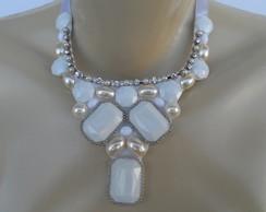 Maxi colar Branco de Chatons