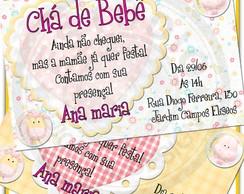 Arte Convite Ch� de Beb� Menina 01