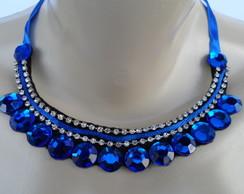 Maxi colar Azul de Chatons e Strass