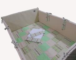 Kit Ber�o-patchwork bege e verde - 8 P�s