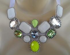 Maxi colar Verde e Branco