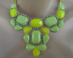 Maxi colar Verde de Chatons