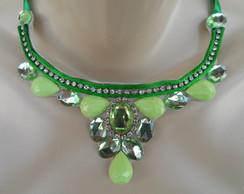 Maxi colar Verde de Fita de Cetim