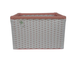 Cesto Caixote Sint Branco Rosa 45x30x30