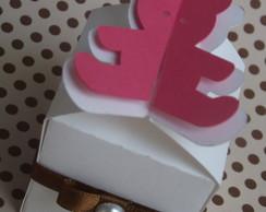 Caixa Ursinha Marrom e Rosa