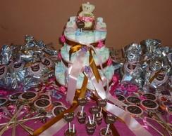 Kit festa baby Ch� Po� Marrom com Rosa