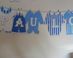 Varal De Roupinhas De Beb� Azul E Branco