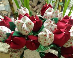 tulipas vermelhas e brancas