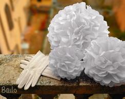 Decora��o Noiva 60 Pom Seda Casamento