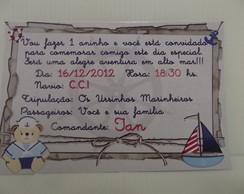 Convite ursinho marinheiro 10 X 15 cm