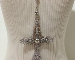 10229 -  Colar Crucifixo Bolinhas Strass