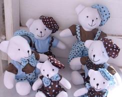 Kit com 6 (seis) Ursos Azul e Marrom