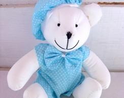 """Ursinho Azul e Branco """"M"""""""