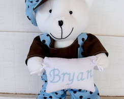 Porta Maternidade Urso Azul e Marrom