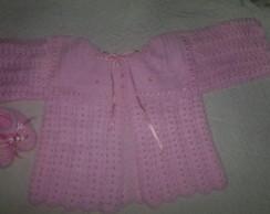 Conjunto de l� para beb� em croch�.