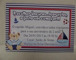 Convite ursinho marinheiro 10 X 7 cm