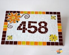 Placa Para casa Mosaico - Laranja|Marrom