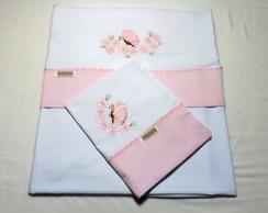 Len�ol de Ber�o Borboletinha (rosa)