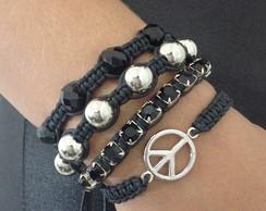 Kit pulseiras da paz e strass