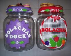 Potes de vidro decorado c/ biscuit