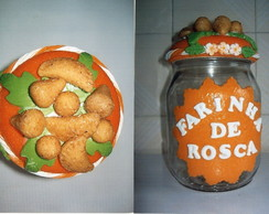 Potes de vidros decorados c/ biscuit