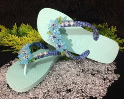 Havaiana Decorada Azul Acqua