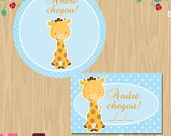 kit nascimento tag e adesivo Girafinha