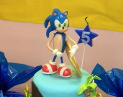 Topo de Bolo Video Game - Sonic