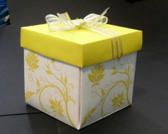 Convite Box de Casamento Floral Amarelo