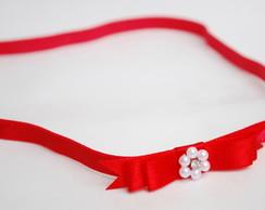 Faixa la�o vermelho c/ p�rolas & strass