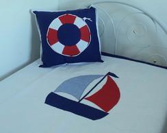 Sobre Len�ol E Almofada Marinheiro Azul