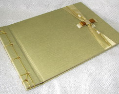 Livro de assinaturas p casamento dourado