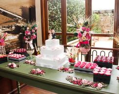 Kit festa arranjos pink & bolo Biscuit I
