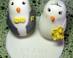 Pombinhos com nome e data do casamento