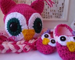 Touca+sapatilha Coruja Pink