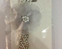 Faixa PRINCESA prata c/ flor em organza
