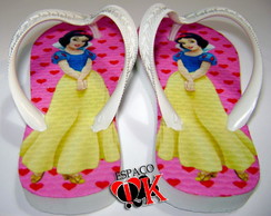 Chinelo Customizado Branca de Neve