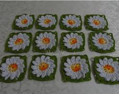 Flores de croch� (Kit com 12 flores)