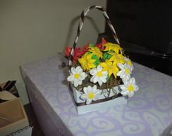 Cesta vaso de flores