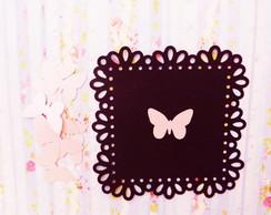Aplique de borboleta - Rosa perolado