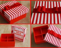 Caixinha vermelha com tecido para doces