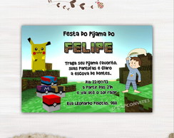 Convite Festa Do Pijama Pokecube