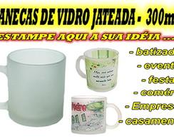 CANECA DE VIDRO PERSONALIZADA - JATEADA
