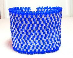 Bracelete Brick Stitch *Azul e Branco*