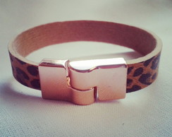 Bracelete Fino On�a com Ros�
