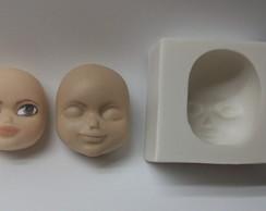 Molde de silicone rosto fofinho