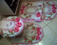 Jogo de banheiro Harmonia 4 pe�as Rosa