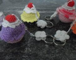 Chaveiros Cupcake de croch� perfumados