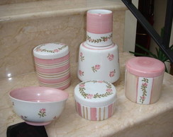 Kit porcelana bege e rosa - 03 pe�as