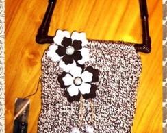 Bolsa em tricot em barbante